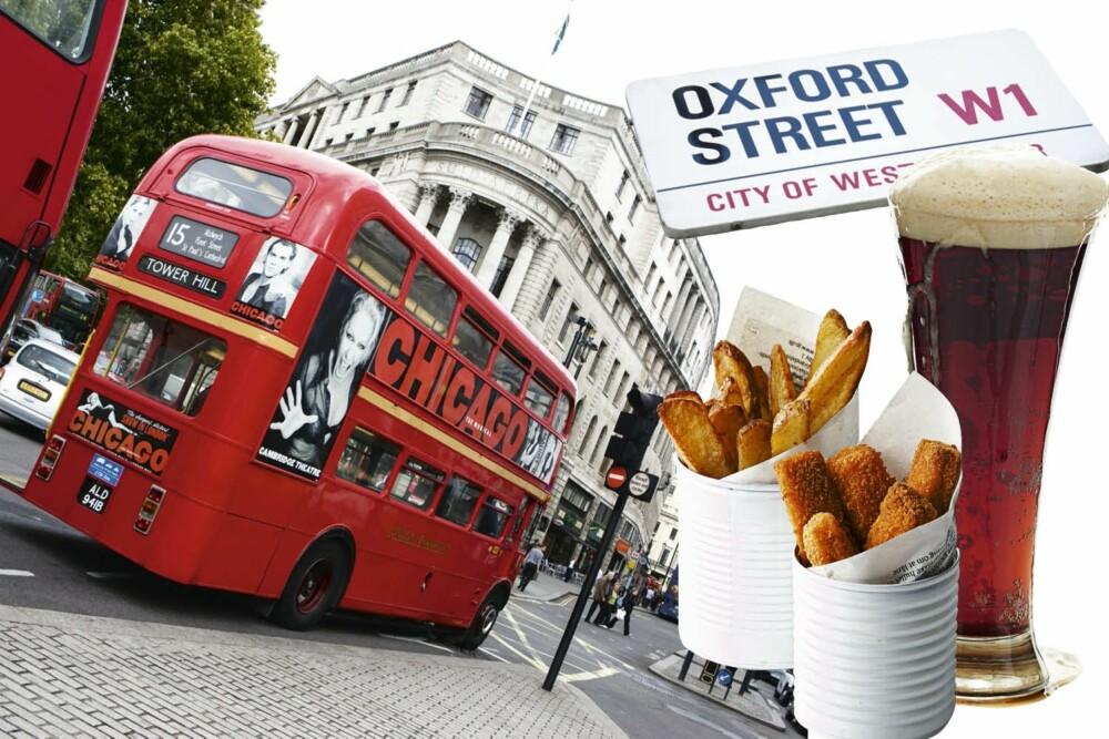 Du kan ikke dra fra London uten å ha kjørt dobbeldekker og spist fish and chips på pub.