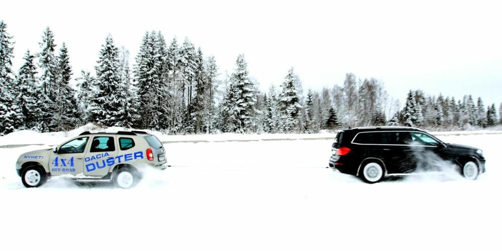 DRAGKAMP: SUV-klassen er svært omfangsrik. Dacia Duster er en av de billigste, Mercedes GL en av de største. De regnes som biler av samme klasse i registreringsstatistikken, og det bidrar til at klassen vokser raskt. Snart kan SUV-ene være Norges største bilklasse i salgstall. FOTO: Egil Nordlien, HM Foto