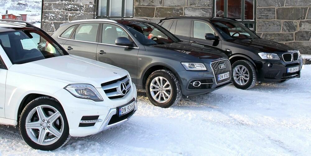 TRE KONGER: Audi Q5 (midten) har litt å bryne seg på i premiumsegmentet av kompakt-SUV-klassen. Foreløpig leder bilen i forkant - Mercedes-Benz GLK.