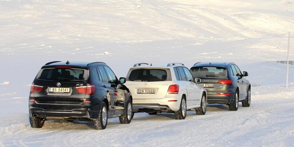 TRE I TEST:BMW X3, Mercedes-Benz GLK og Audi Q5. FOTO: Petter Handeland