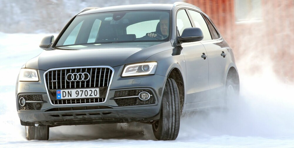 Q5: Audi Q5 oppleves størst og tyngst på veien, og er den av bilene som har mest framhjulsdreven karakter. FOTO: Petter Handeland
