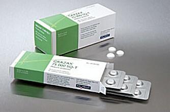 GRAZAX: Den nye vaksinen i pilleform ble godkjent av norske helsemyndigheter i fjor.