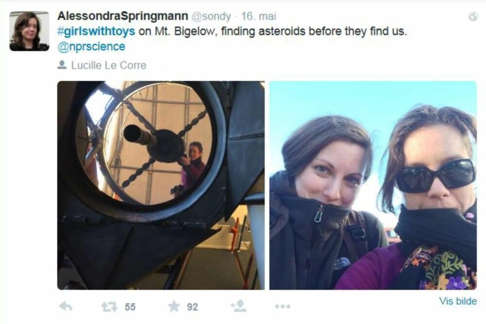 BRA DAMER: Alessondra Springman og en kollega, samt noe av utstyret de bruker for å lete etter asteroider.