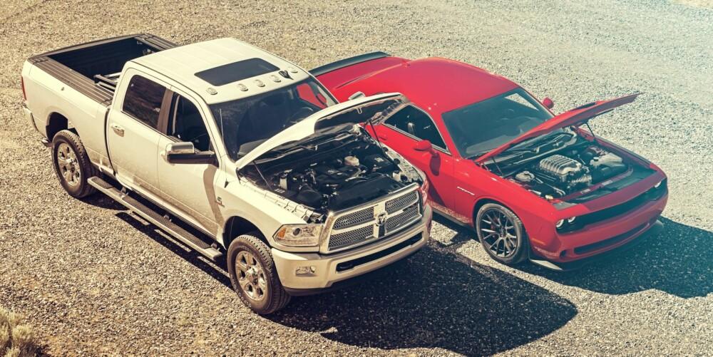 DODGE: En Dodge Ram 2500 og en Dodge Challenger SRT Hellcat. Drømmekombo.