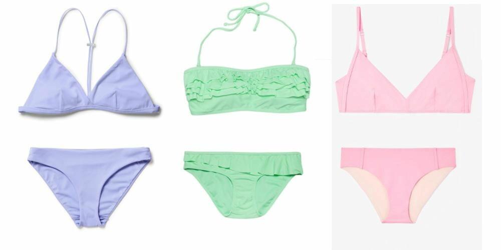 PASTELLER: Fra venstre: Lilla bikini fra Weekday, kr 129 per del. Grønn fra Bik Bok, kr 120 per del. Rosa fra COS, kr 190 per del