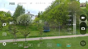 KAMERAAPP: Du har mange muligheter i kameraappen til LG G4. Blant annet kan du skru lukkertiden helt opp til 30 sekunder.