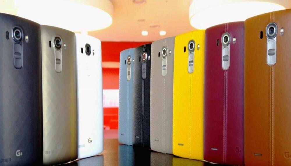 FARGERIKT: LG G4 kommer i en rekke ulike farger og utførelser så du kan velge etter din egen personlige smak.
