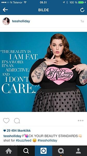 Tess Holliday bruker Instagram-kontoen sin til å fremme kroppsaksept.