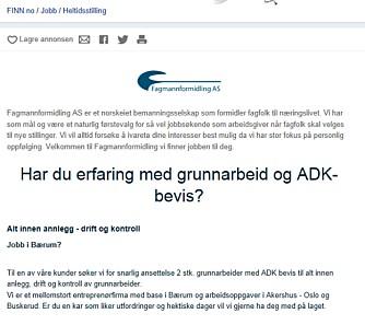 """KJØNNET ANNONSE: Her søkes det etter """"en kar som liker utfordringer""""."""