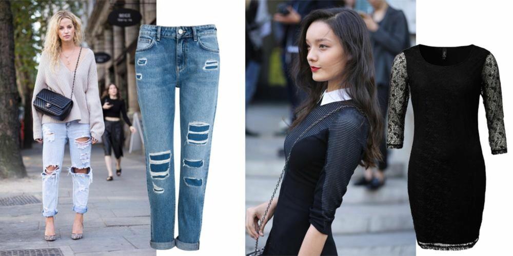 KLASSISKE FAVORITTER: Jeans til hverdags og kjole til fest. Bukse fra Cubus, kr 499. Kjole fra MQ, kr 499.