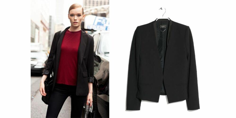 KLASSISK OG TRENDY: En sort blazer kan brukes til både jeans og kjole. Blazer fra Mango, kr 399.