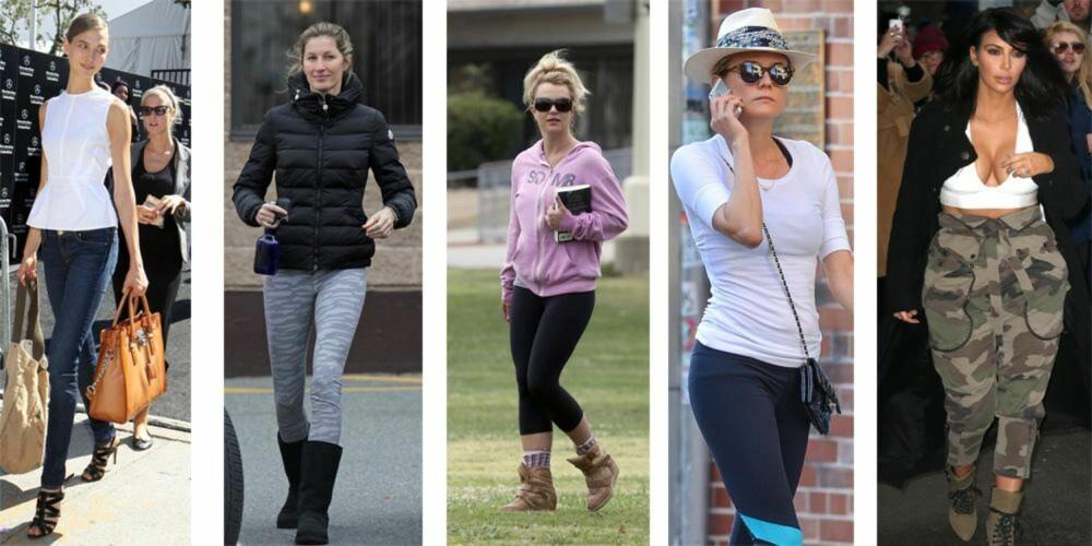 ELSK OG HAT:Trendene starter ofte med at kjendiser går med dem. Fra venstre: Karlie Kloss med veske fra Michael Kors, Gisele Bündchen med sko fra UGGs, Britney Spears med sko fra UGGs, Diane Kruger med hatt og Kim Kardashian med militærbukser