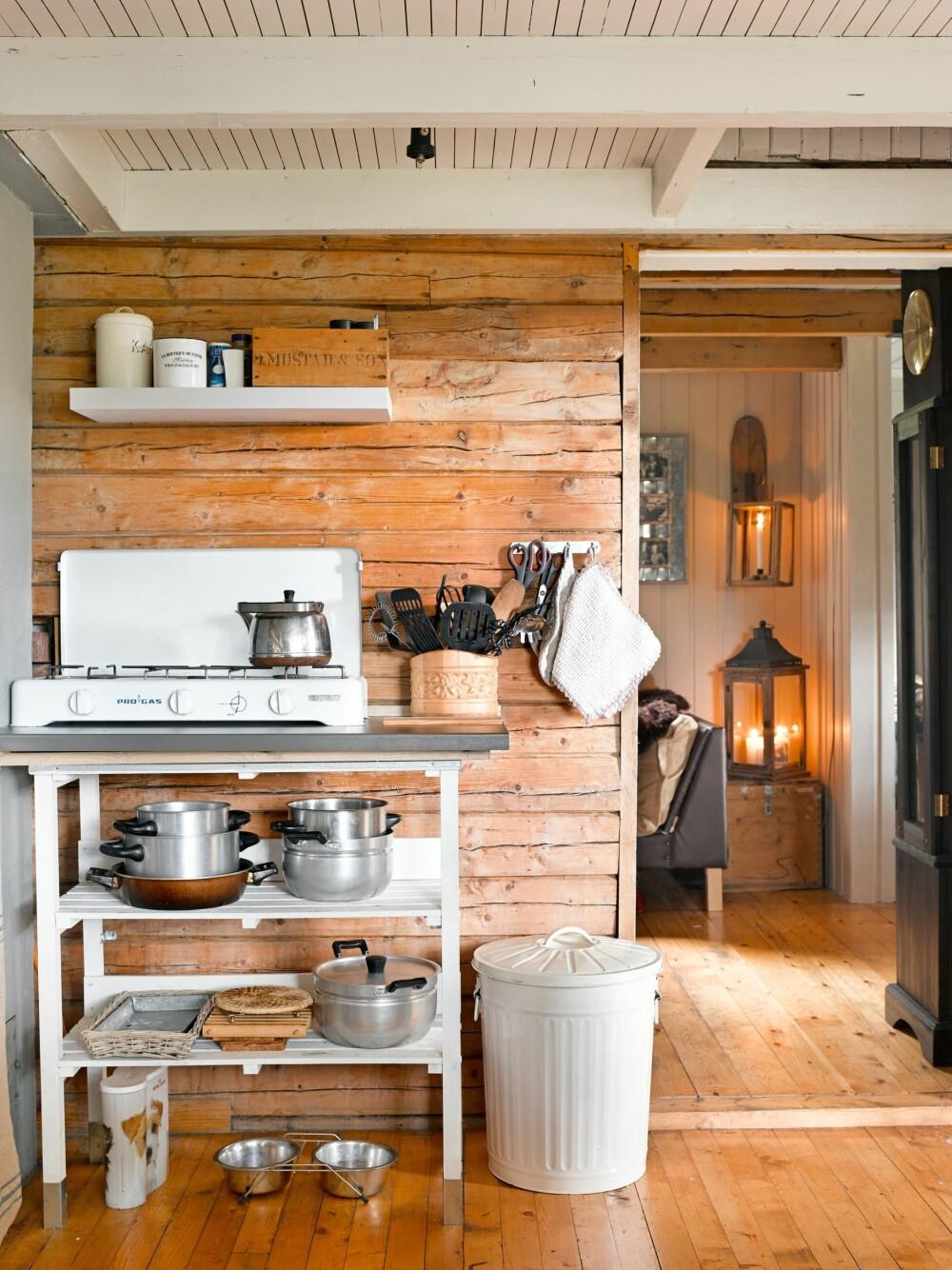 ENKELT: Det vesle kjøkkenet er spartansk innredet, men inneholder det familien trenger.