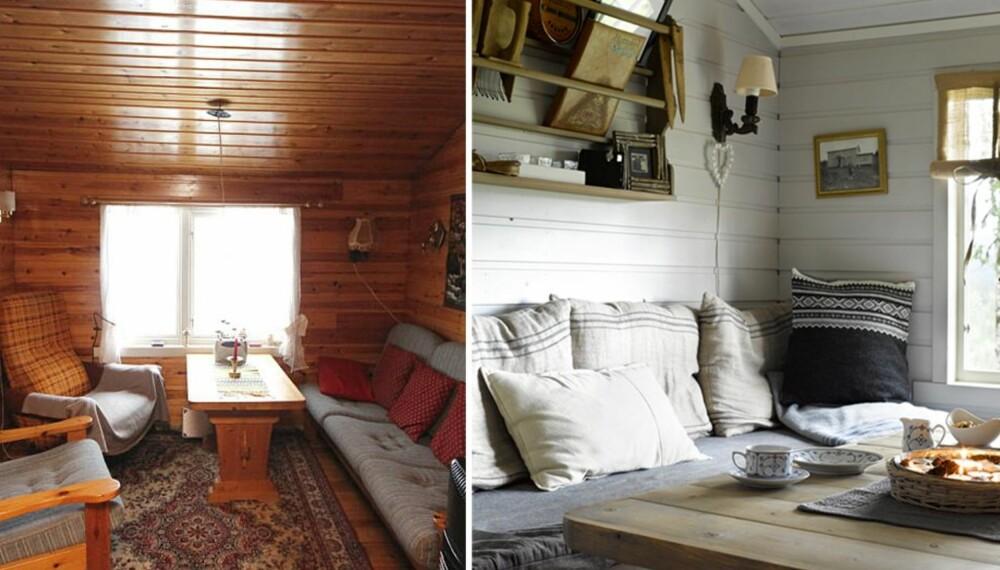 STUEN FØR OG ETTER: Stuen var innredet med en treseter og to stoler. De trehvite veggene fikk stuen til å virke mørk.