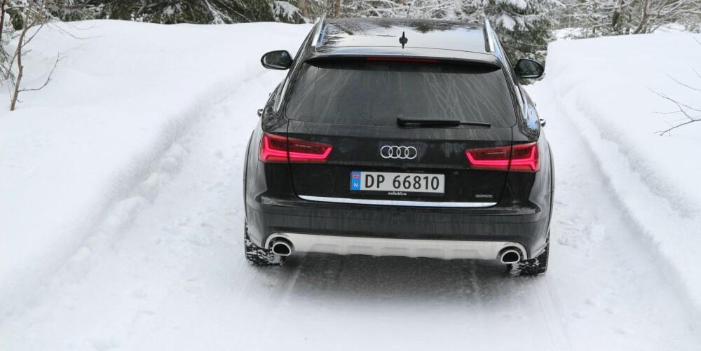 QUATTRO: Et klart flertall av Audi A6-ene som selges i Norge, har firehjulsdrift. Allroad-utgaven koster rundt 50.000 kroner mer enn en A6 stasjonsvogn med samme motor. FOTO: Øyvind Jakobsen