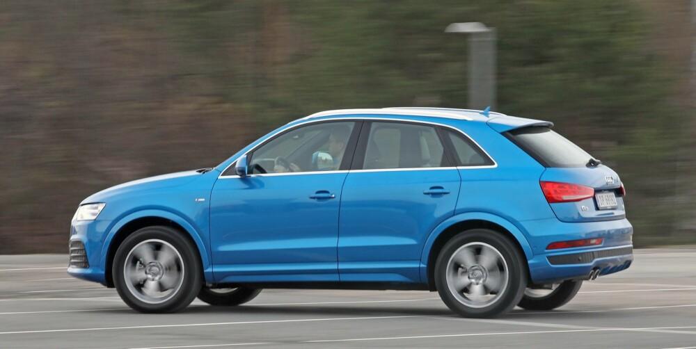 IKKE SÅ AUDI: I forhold til nye Audi A3, er Audi Q3 en temmelig sedat opplevelse på veien. Ganske utypisk for et merke som gjerne fremhever sin sportslighet. FOTO: Terje Bjørnsen