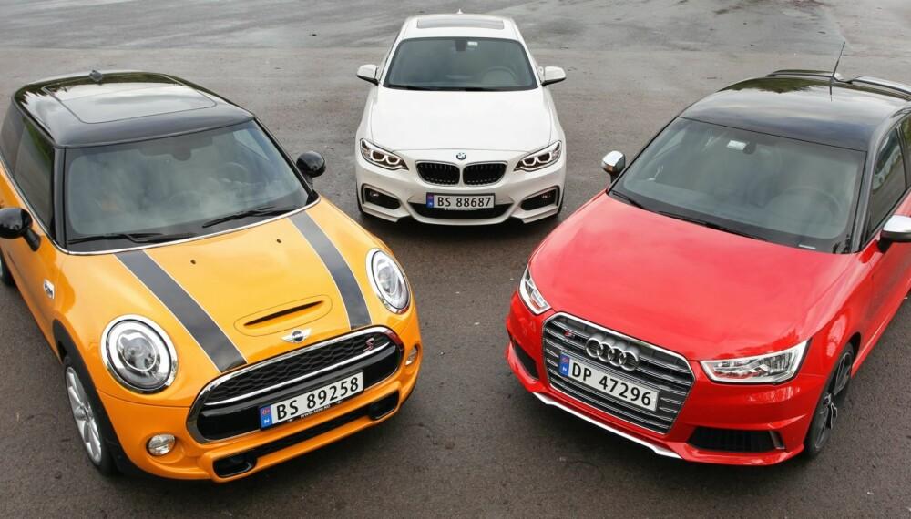 POTENT TRIO: Kjapp, kjappere kjappest, om du starter i BMW, fortsetter i Mini og avslutter i Audi S1 - en av de raskeste bilene vi har testet.