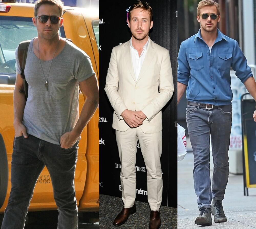 KJENDIS-CASUAL: Det er vel ikke bare stilen som gjør at vi hadde snudd oss etter denne mannen, men Ryan Gosling er og blir kroneksempelet på stilen casual. Han ikler seg ofte jeans, gjerne kombinert med en enkel t-skjorte eller andre ensfargede plagg. Enkelt, stilrent, men likevel i tiden og med et lite, personlig preg.