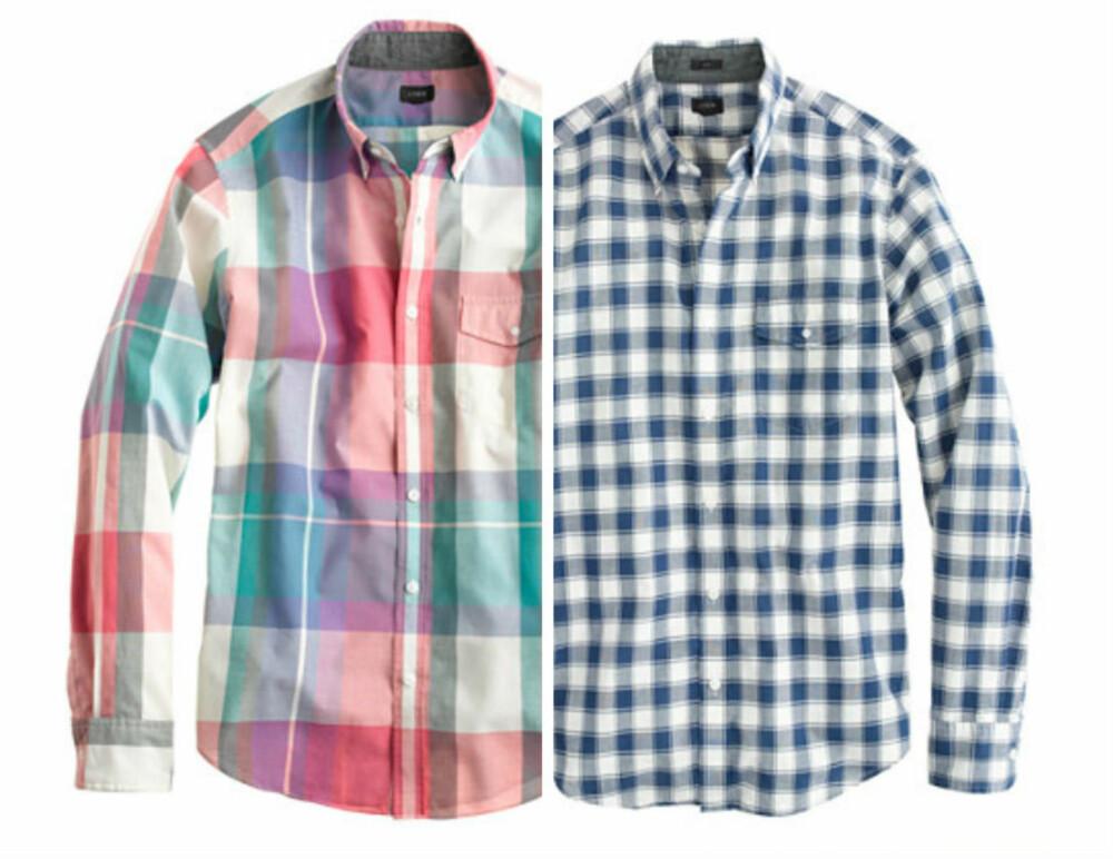 BUTTON-DOWN: Disse skjortene er moteblogger Fredrik De Langes storfavoritt. - Kragen er kneppet ned, så den ligger pent nedover, uansett hvor mange knapper du knepper opp eller igjen, sier De Lange. Her ser du to varianter fra J-Crew (begge kr 450).