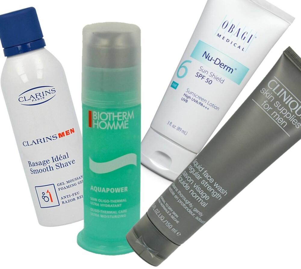 DET MEST NØDVENDIGE: En ansiktskrem, en god rens, fuktighetsgivende barberskum og en høy solfaktor er produkter du bør vurdere å skaffe deg dersom du vanligvis vasker ansiktet med en kroppssåpe eller sjampo... Fra venstre: Ansiktskrem: Biotherm Homme Aquapower, kr 299. Ansiktsrens: Clinique Men Liquid Face Wash, kr 219. Barberskum: Clarins Men Smooth Shave, kr 159. Solkrem: Obagi SPF 50, kr 490.