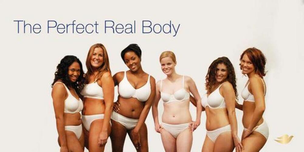 """EKTE SKJØNNHET: Det er i år 10 år siden Dove lanserte sin egen """"Real Beauty"""" kampanje. I høst har de kastet seg inn i debatten over Victoria's Secret bruk av ordene """"perfect body"""". FOTO: Dove/Twitter"""