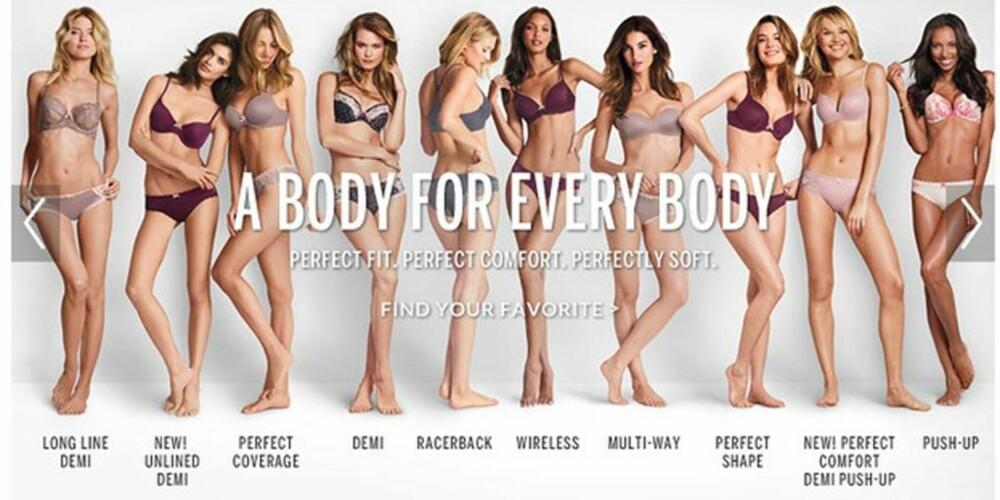 NYTT SLAGORD: Victoria's Secret har ikke offisielt kommet ut og sagt noe som helst om kampanjen, men har i det stille forandret ordbruken på sine nettsider. FOTO: Screenshot, Victoria's Secret