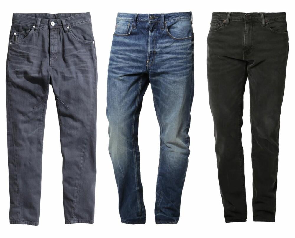 CARROT FIT: Jeans Tapered Fit fra H&M, kr 399. Type C 3D Loose Tapered - Slim Fit Jeans - medium aged fra G-Star, kr 1045. 508 Regular Tapered - Relaxed fit jeans - sort fra Levi's, kr 899.