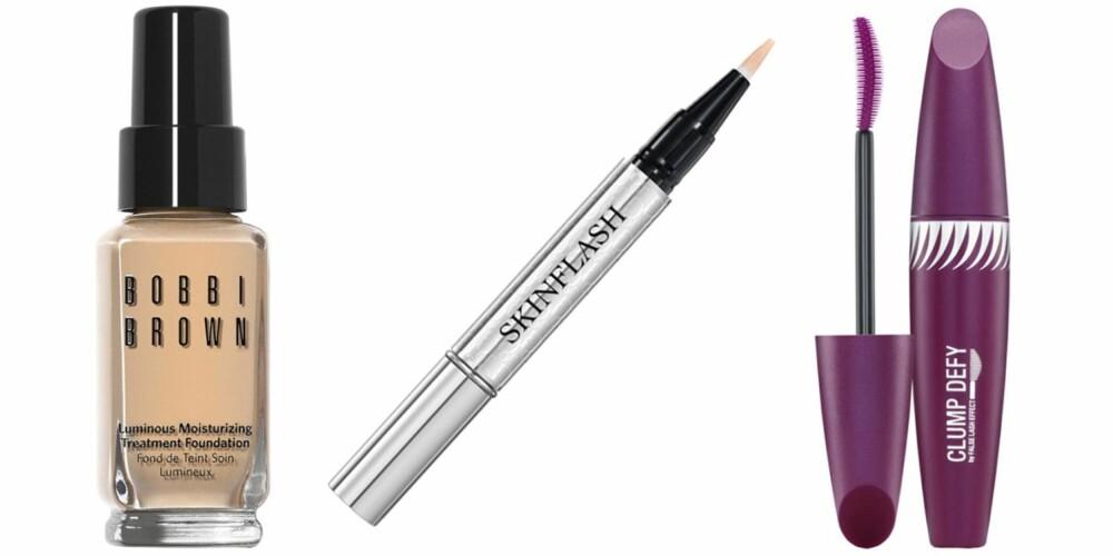 GODE PRODUKTER: Bobbi Brown Lumnious Moisturizing Treatment Foundation, kr 380. Dior Skinflash Radiance Booste Pen, kr 440. Max Factor Clump Defy Mascara, kr 179.