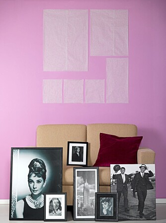 NOSTALGISK COLLAGE: Legg først bildene på matpapir, og tegn rundt. Klipp ut formene. Legg så bildene på gulvet, og sett dem sammen til ønsket collage. Heng deretter opp matpapiret på veggen med tape med riktig avstand og høyde fra sofaen. Anbefalt avstand fra sofaen og til underkant av bildene er ca. 30 cm.