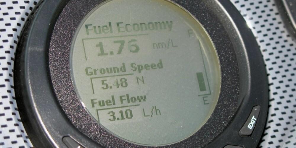Ved rolig kjøring ligger forbruket på rundt 3-6 liter pr. time