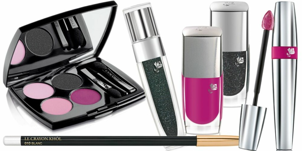 ROSA OG SVART: Lancôme sin fargepalett går i ulike rosa toner og svart.