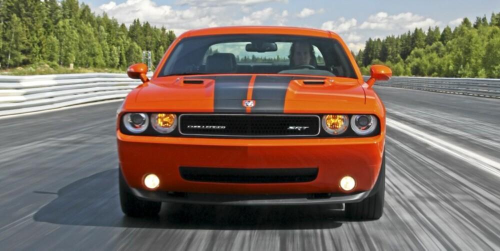 DRAGRACER: Det er på dragracebanen - eventuelt i et lyskryss - Dodge Challenger passer best.