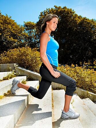 UTFALL: Fremste bein gjør jobben. Bøy i knærne og kom ned til ca. 90 grader i fremste kne. Skyv deg opp igjen.