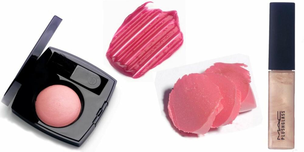 ROSA: Har du bare litt rosa gloss for hånden, kan du legge den i eplekinn som en frisk rouge. Her ser du rouge fra Chanel, gloss fra YSL, leppestift fra Maybelline og lipgloss fra Mac.