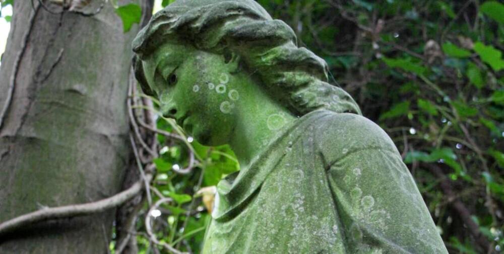 GAMMEL STATUE: Kirkegården ligger bare en 15 minutters t-banetur fra London sentrum. Her finner du mange gamle, vakre steinfigurer.