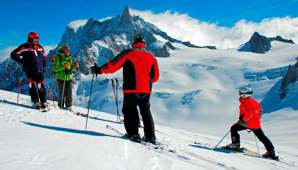 TØFFEST: Breen Vallée Blanche, Chamonix-Mont Blanc. Vi anbefaler å leie en fjellguide.