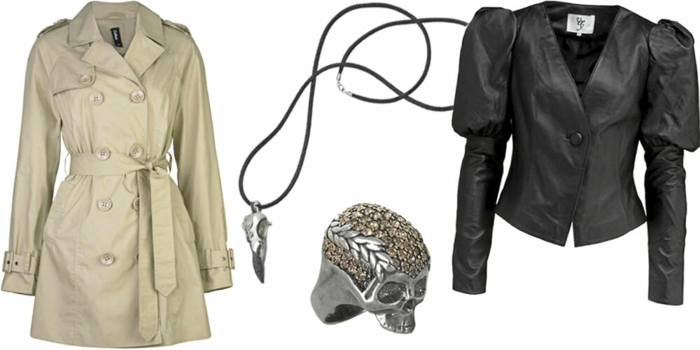 FRA VENSTRE: Trenchcoat fra Cubus (kr 399), smykke fra Thomas Sabo (kr 2498), ring fra Vivienne Westwood (kr 2300), jakke med skulptrerte skuldere fra Vero Moda Very (kr 1200).