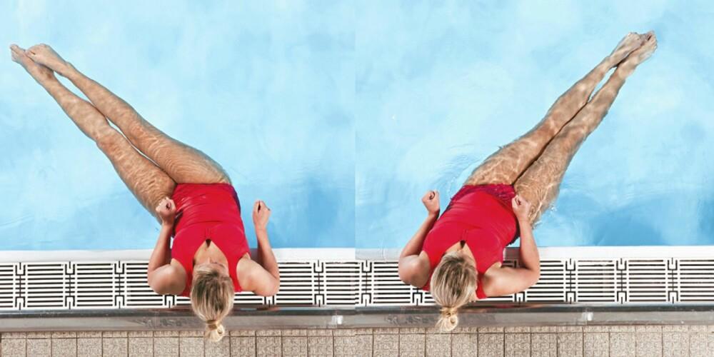 ØVELSE 2 - VINDUSVISKEREN: Len albuene på bassengkanten. Beina skal være strake og holdes vannrett i vannet. Pendle samlede bein fra side til side som en vindusvisker.