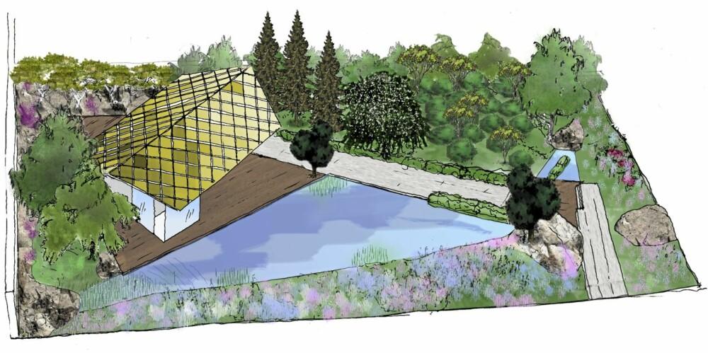 DET NORSKE BIDRAGET: Kebony og natur i Darren Saines design.