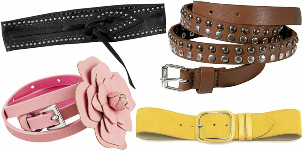 FRA VENSTRE: Svart fra Pepe Jeans (kr 449), rosa med blomst fra Cubus (kr 79), gult fra Benetton (kr 329), brunt med nagler fra La Redoute (kr 329).