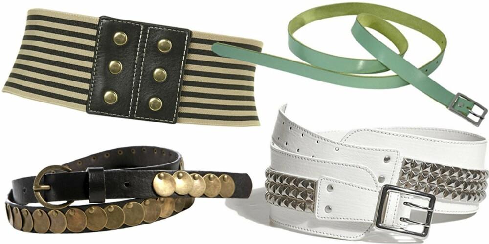 FRA VENSTRE: Svart med pynt fra Pepe Jeans (kr 299), stripete fra Topshop (kr 199), turkis fra Ellos (kr 129), hvitt med nagler fra Lindex Affordable Luxury (kr 199).