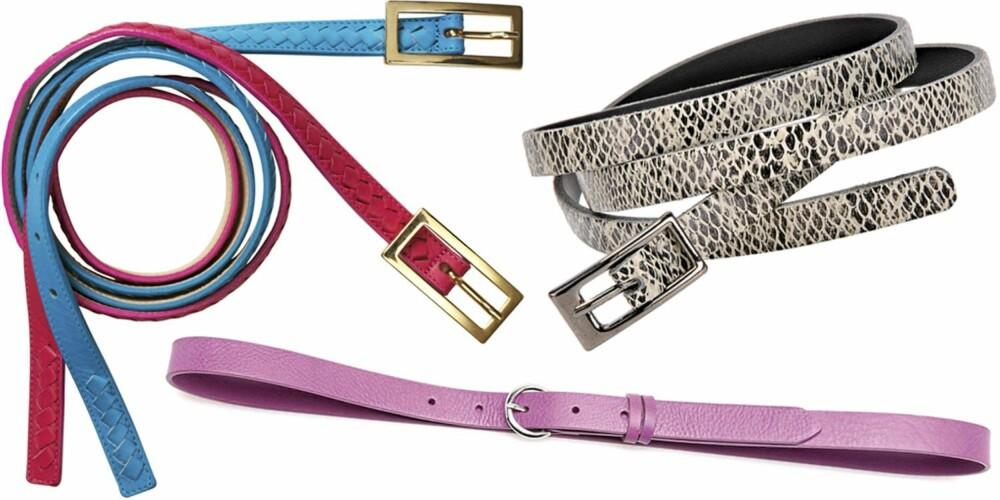 FRA VENSTRE: Blått og rødt belte fra Gant (kr 800), rosa fra Benetton (kr 279), slangeskinnsbelte fra La Redoute (kr 229).