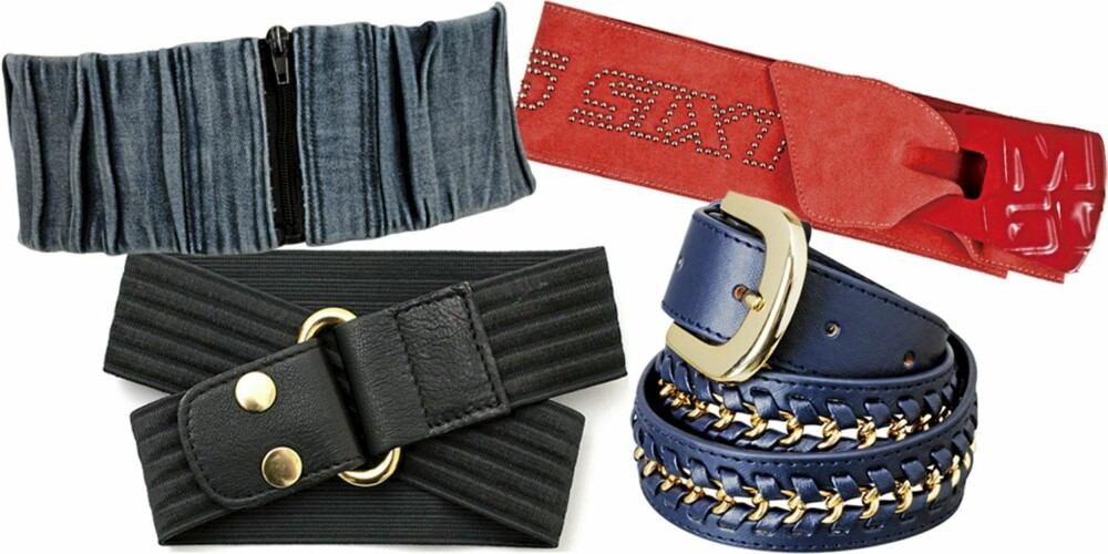 FRA VENSTRE: Denimbelte fra Only (kr 99,95), svart belte fra Filippa K (kr 399), rødt belte fra Miss Sixty (kr 799), blått belte fra H&M (kr 99).