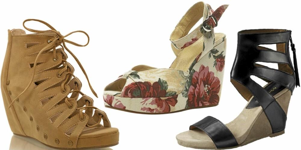 FRA VENSTRE: Nelly Shoes (kr 399), Topshop (kr 542), Ellos (kr 995).