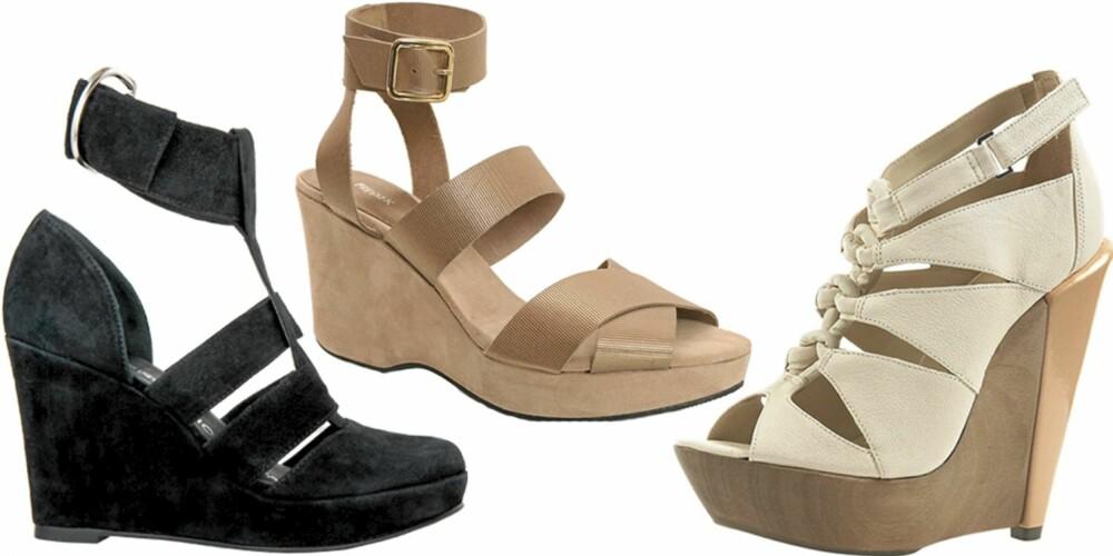 FRA VENSTRE: Fifth Avenue Shoe Repair (kr 3495), Filippa K (kr 1599), Topshop (kr 1355).