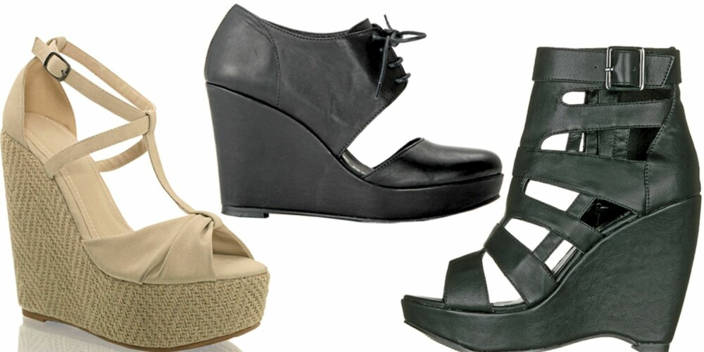 FRA VENSTRE: Nelly Shoes (kr 399), Fifth Avenue Shoe Repair (kr 3395), Din Sko (kr 499).