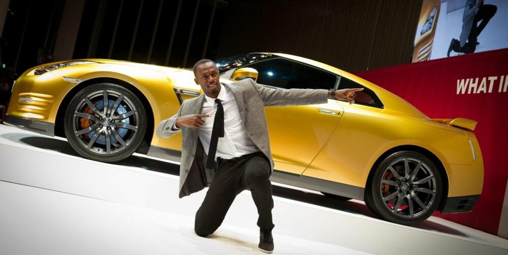 """RASK: 22. november-2. desember er det online-auksjon på eBay på en Nissan GT-R """"""""Bolt Gold"""""""". Inntekten går til """"""""Usain Bolt Foundation"""""""". FOTO: Nissan"""