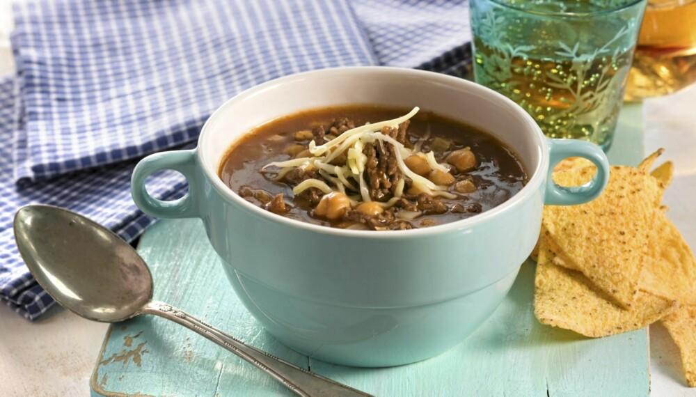 SUPPE MED TACOSMAK: Denne suppas ikke fullt så hemmelige ingrediens, er tacokrydder.