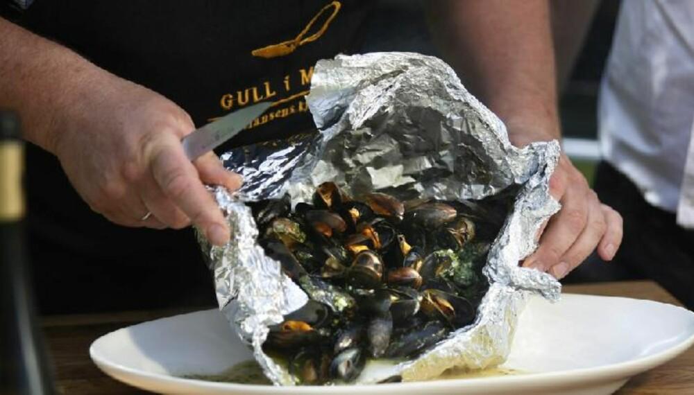 BLÅSKJELL: Sjømat er godt på grillen!
