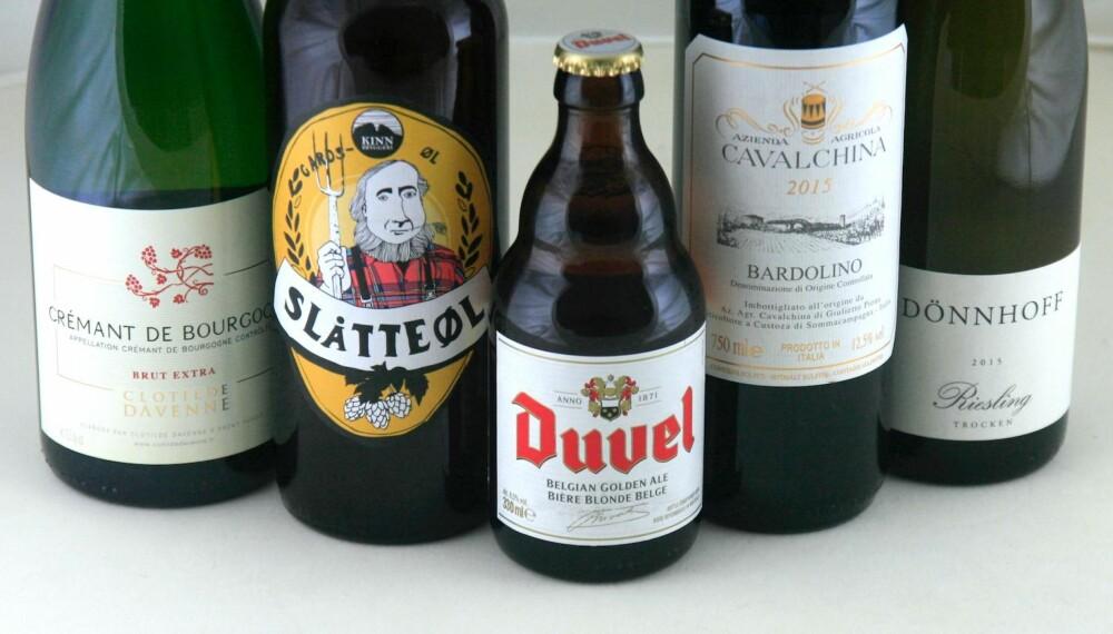 HVA DU ØNSKER: Om du legger godviljen til, kan du drikke både øl, hvitvin, rødvin og musserende til lutefisk.